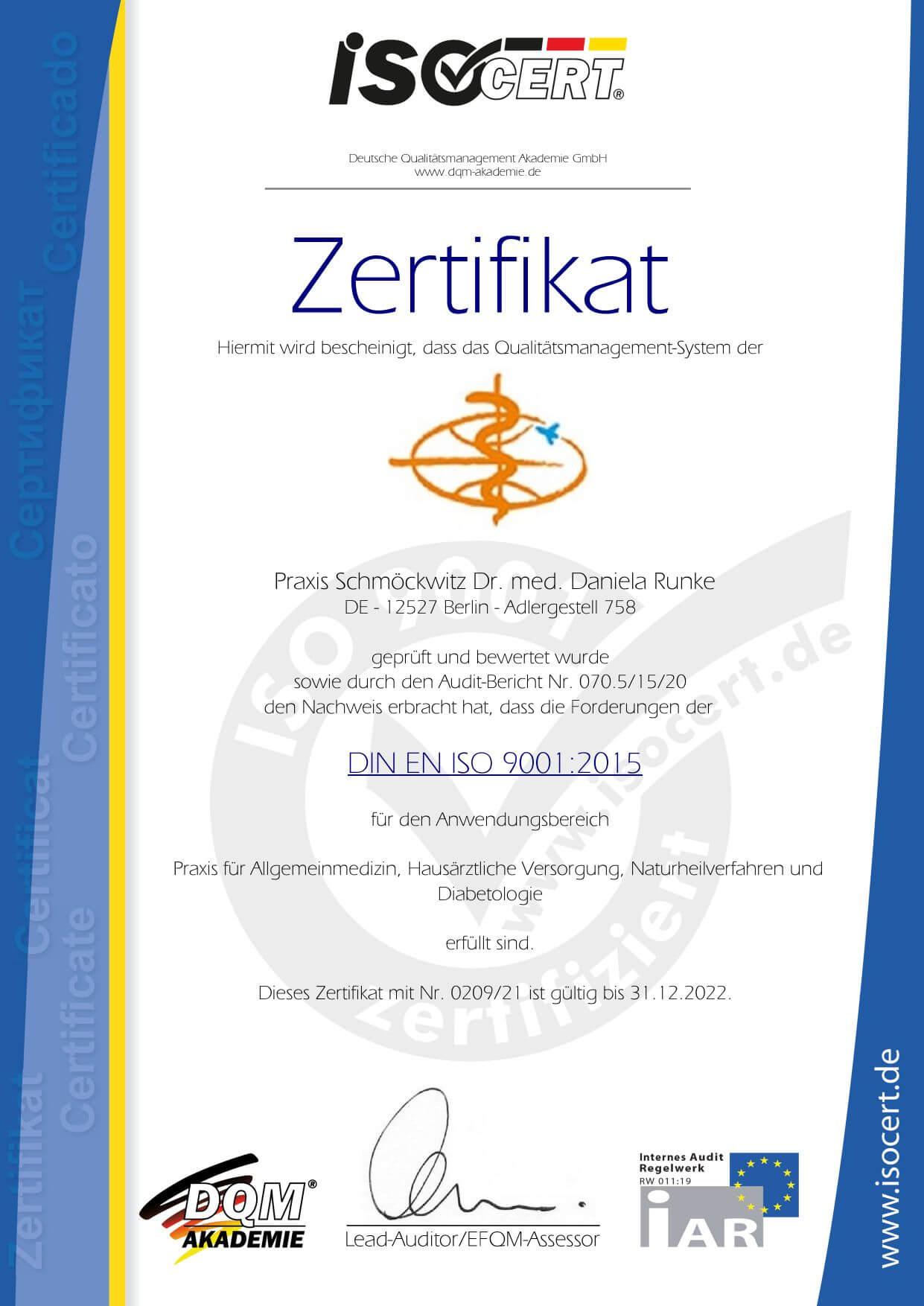 zertifikat dr. med. runke